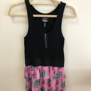 Frilly Pink and Black Rose Dress